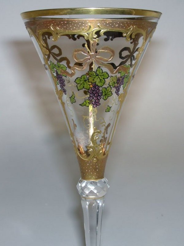 Antique Set Of Handcrafted Bohemian Goblets