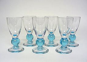Vintage Bryce Blue Ball Stem Cordial Set