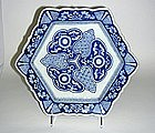 Antique Japanese Imari Porcelain  hexagonal Dish