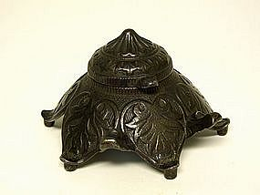 Art Nouveau Cast Metal Inkwell