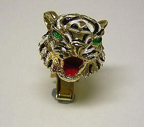 Vintage Enamel Tiger Cufflinks
