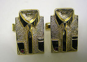 Vintage Gold Shirt Cufflinks By Lew 