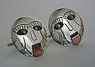 Vintage Art Deco Style Silver Cuff Links