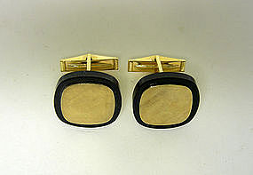 14k Gold And Onyx Toggle Back Cufflinks