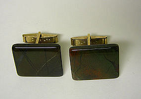 Art Deco Agate Toggle Back Cufflinks