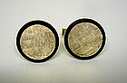 Vintage 14k Gold And Onyx Toggle Back  cuff Links
