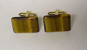 Vintage Tiger Eye Toggle Back Cuff Links