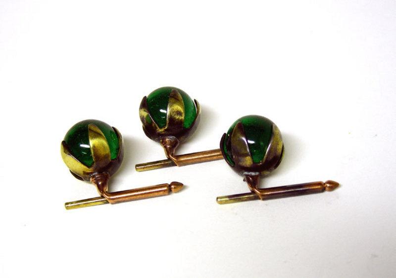 Art Deco Green Crystal Stud Set
