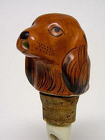 Vintage Novelty Dog Head Pourer  stopper