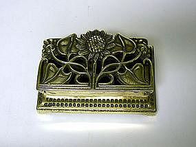 An Art Nouveau Style Brass Stamp Holder