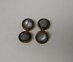 Pair Of Arts And Crafts Copper And Pearl 