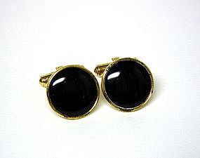 Vintage Onyx Pivot Toggle Back Cuff Links