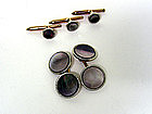 Vintage Mother Of Pearl & Silver Cufflinks And Stud Set