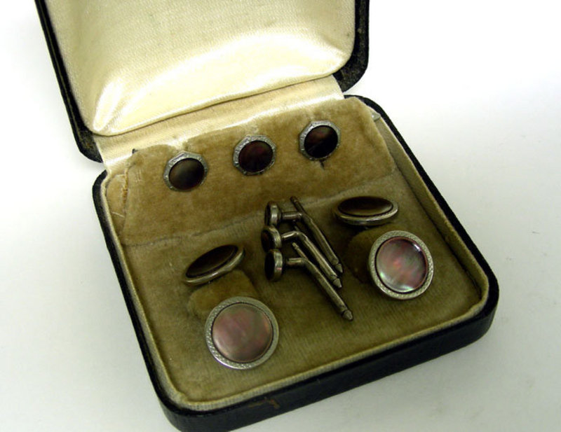Vintage Abalone And Silver Cufflinks And  stud Set