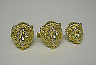 Vintage Gold And Diamond Lion Cufflinks  and Tie  pin