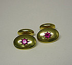 Antique 14k Gold And Ruby Cufflinks