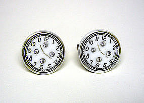 Art Deco Glass And Rhinestone Clock  face Cufflinks