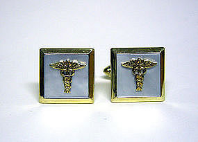Vintage Mop And Gold Plate Caduceus Symbol Cufflinks