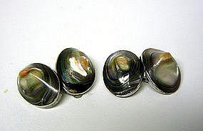Art Nouveau Abalone Blister Pearl &  silver Cufflinks