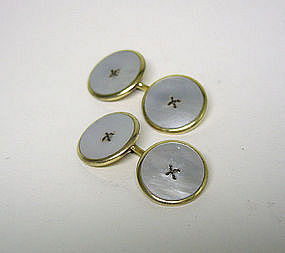 Vintage Mop & Gold  Button-form Cuff  links