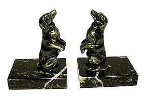 Pair Of Vintage Silverplate Dog 