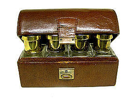 Antique Leather Trunk-form Scent Bottle Case