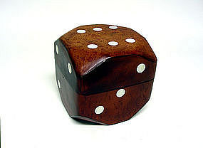 Vintage Leather Dice-form Card Box