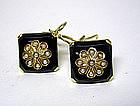Vintage 14k Gold, Onyx And Seed Pearl  earrings