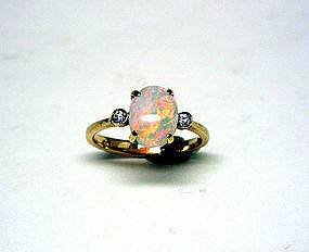 Natural Australian Opal And Diamond 