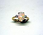 Natural Australian Opal And Diamond  ring