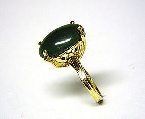 Vintage Jade Cabochon And Gold Tone  cocktail Ring