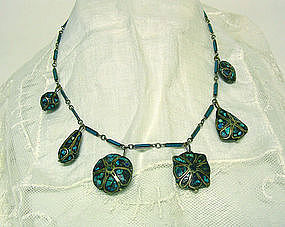 Victorian Turquoise And Silver Festoon Necklace