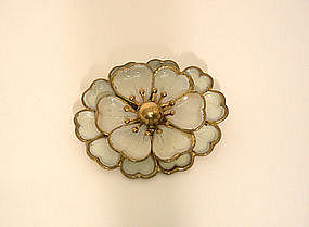 Vintage Enamel And Gold Filled Flower 