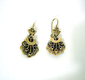 Antique 14k Yellow Gold Dangle Earrings