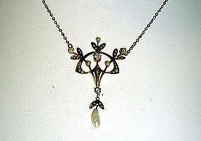 An Art Nouveau Gold, Diamond And Pearl  lavaliere