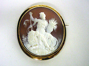 Victorian Shell Cameo Brooch With Gold 