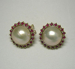 A Pair Of 14k Mabe Pearl, Ruby And Diamond  Earrings