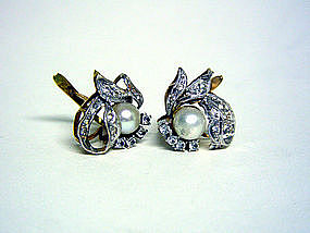 Vintage 18k Gold, Diamond And Pearl 