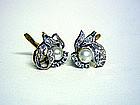 Vintage 18k Gold, Diamond And Pearl  earrings
