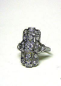 "Art Deco 18k White Gold And Diamond  ""Eternity"" Ring"