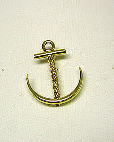 Vintage 18k Yellow Gold Anchor-form Pin