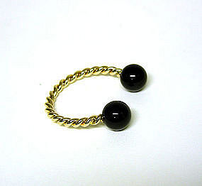 Vintage 14k Gold And Black Onyx Key Chain