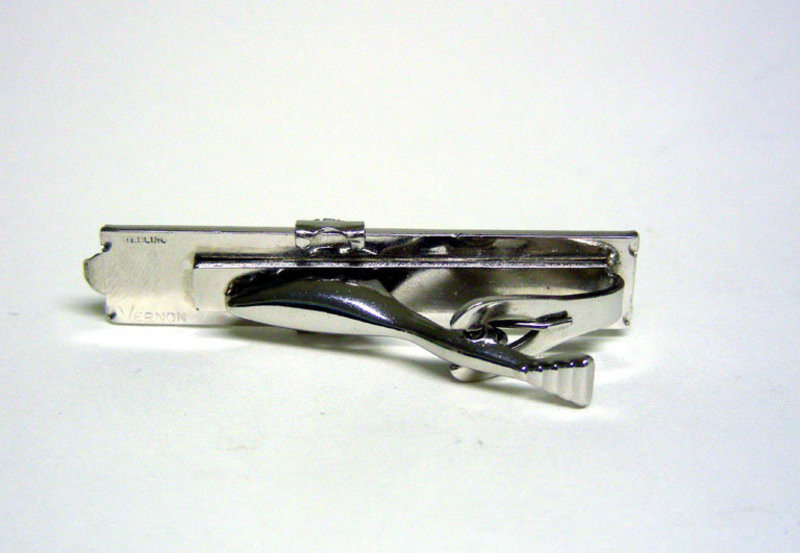 Silver Slide Rule Tie Clip With Magnifying  cursor