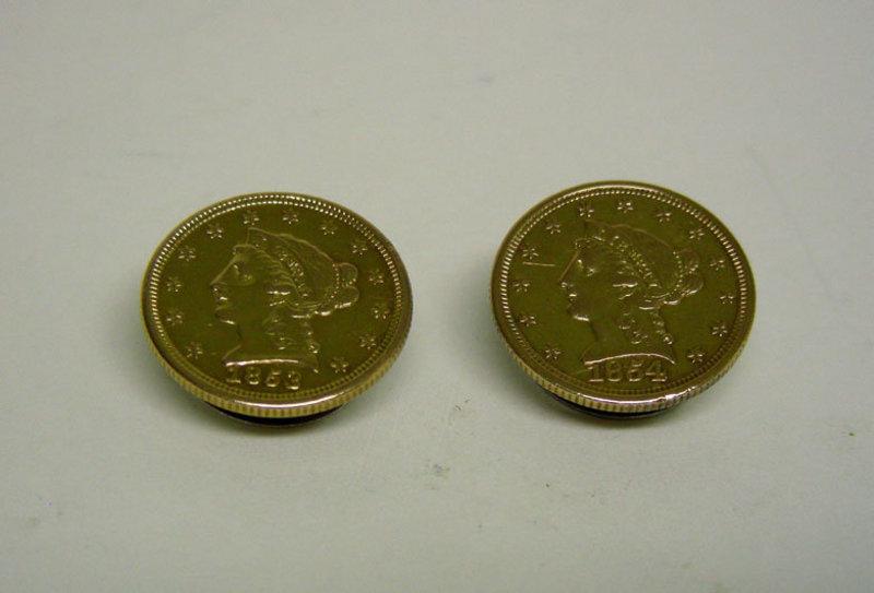 Gold Liberty $2 1/2 Quarter Eagle Coin  cufflinks