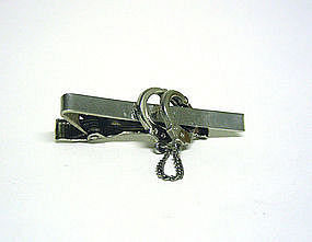 Vintage Nickel Tie Clip With Hanging Chain 