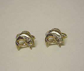 Vintage Gold Tone Bass Fish Cufflinks
