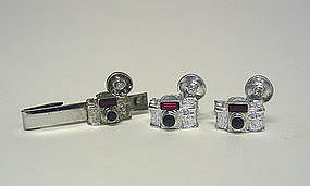 Vintage Silver Camera Form Cufflinks And 
