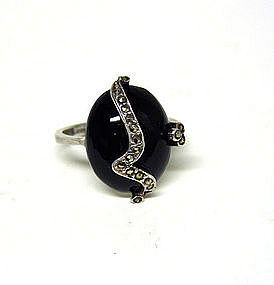 Vintage Art Deco Silver And Onyx Ring  with Marcasite