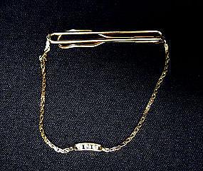 Vintage 14k Gold And Diamond Tie Clasp