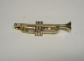 Vintage Gold Plated Trumpet-form Tie Clasp
